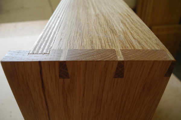 Detail of dovetailed joints on a kitchen drawer